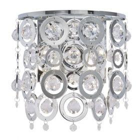 2 Light Wall Bracket, Chrome, Clear Acrylic Balls, Chrome Acrylic Rings BPOSL088