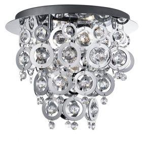 3 Light Ceiling Flush, Chrome, Clear Acrylic Balls, Chrome Acrylic Rings BPOSL08