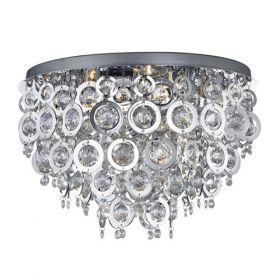 5 Light Ceiling Flush, Chrome, Clear Acrylic Balls, Chrome Acrylic Rings BPOSL09