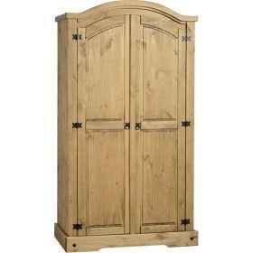 Waxed Pine Bedroom 2 Door Wardrobe