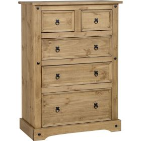 Waxed Pine Bedroom 3+2 Drawer Chest