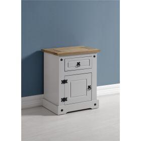 Waxed Pine Grey Painted Bedroom 1 Door 1 Drawer Bedside