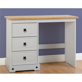 Waxed Pine Grey Painted Bedroom 3 Drawer Dressing Table