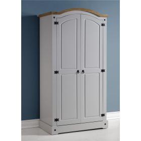 Waxed Pine Grey Painted Bedroom 2 Door Wardrobe