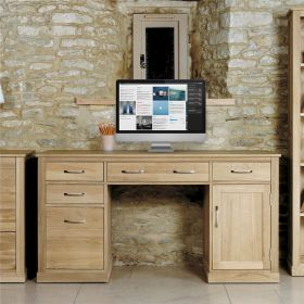 Boston Oak Twin Pedestal Computer Desk
