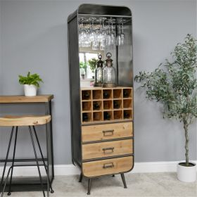 Industrial Wine Cabinet With Mirror