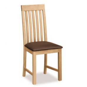 Devon Dining Vertical Slatted Chair With Black Pu