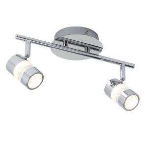 (Dim) Ip44 Led 2 Light Spot Bar - Chrome & Acrylic Shade BPOSL778