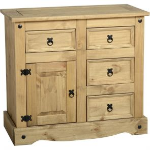 Waxed Pine Dining 1 Door 4 Drawer Sideboard