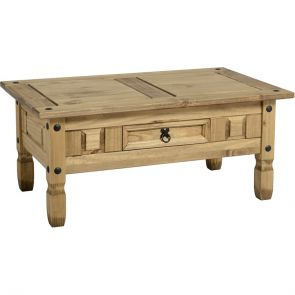 Waxed Pine Dining 1 Drawer Coffee Table