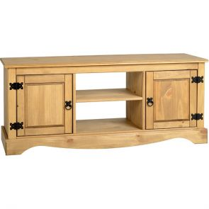Waxed Pine Dining 2 Door 1 Shelf Flat Screen Tv Unit