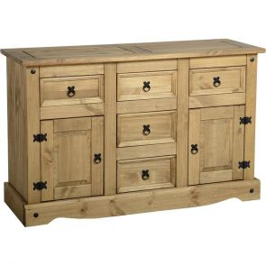 Waxed Pine Dining 2 Door 5 Drawer Sideboard