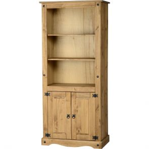 Waxed Pine Dining 2 Door Display Unit/Bookcase