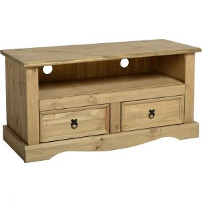 Waxed Pine Dining 2 Drawer Flat Screen Tv Unit