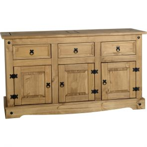 Waxed Pine Dining 3 Door 3 Drawer Sideboard
