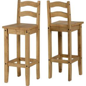 Waxed Pine Dining Bar Chair (Pair)