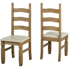 Waxed Pine Dining Chair Cream Seat (Pair)