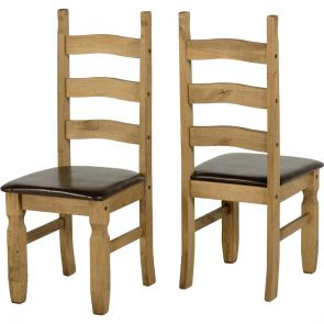 Waxed Pine Dining Chair Brown Seat (Pair)