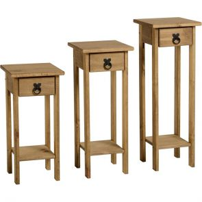 Waxed Pine Dining Plant Stands (Set Of 3)