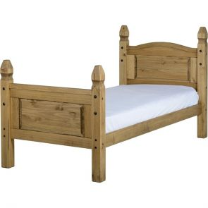 Waxed Pine Bedroom 3'0 Bed High Foot End