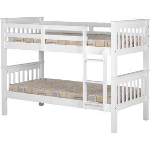 Atlantis Bunk 3'0 Solid Pine Bunk Bed White Or Oak Finish