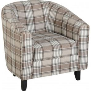 Taylor Tubs Tub Chair - Grey/Brown Tartan Fabric