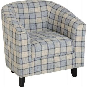 Taylor Tubs Tub Chair - Grey/Check Fabric