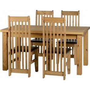 "Tilla Pine 4'9"" Dining Table & 4 Chairs"