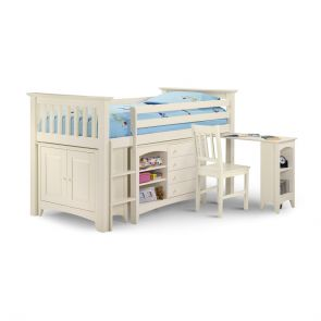 Clarus Sleep Station With Desk In Stone White Or Lacquer Pine