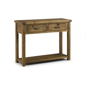 Rustic Pine Console Table With 2 Drawers