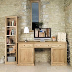 Boston Oak Large Hidden Office Twin Pedestal Desk