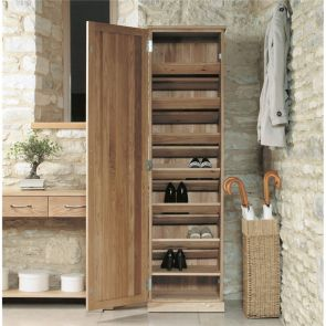 Boston Oak Tall Shoe Cupboard