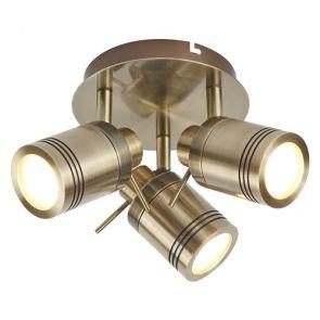 3 Light Ip44 Bathroom Spot Plate, Antique Brass BPOSL1090