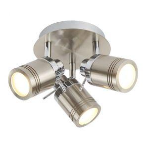 3 Light Ip44 Bathroom Spot Plate, Satin Silver BPOSL1091