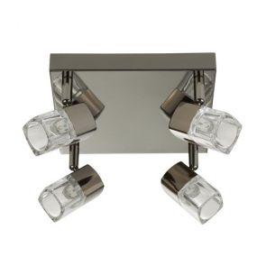 Led - 4lt Spotlight Square, Black Chrome, Clear Glass (Ice Cube) BPOSL1243