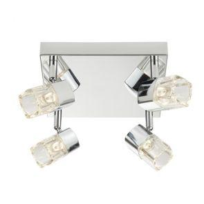 Led- 4lt Spotlight Square, Chrome, Clear Glass (Ice Cube) BPOSL1244