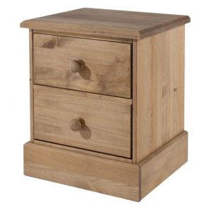 Stow Pine 2 Drawer Bedside Cabinet