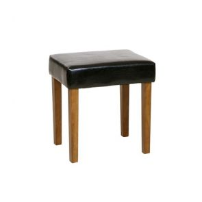 Stow Pine Stool In Black Faux Leather, Med Wood Leg
