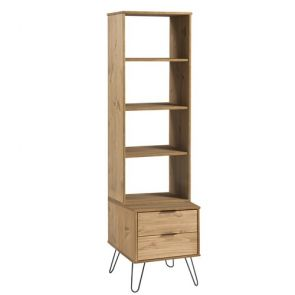 Highland Narrow Bookcase With 2 Drawers