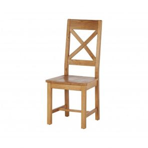 Oakhampton  Cross Back Chair With Wooden Seat