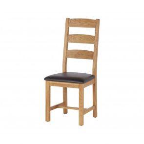 Oakhampton  Slatted Chair With Pu Seat