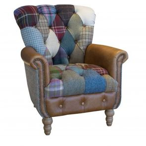 Winchester Patchwork Arm Chair Leather Arm