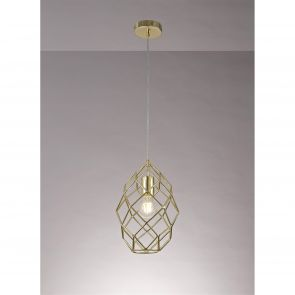 Evie Curved Cylinder Pendant, 1 x E27, Polished Brass IL2917HS