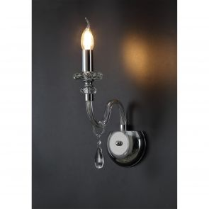 Gabriella Wall Lamp, 1 Light E14, Polished Chrome/Clear Glass/Crystal IL7147HS