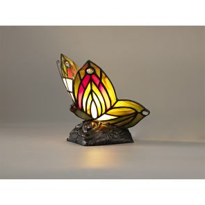 Mandy Butterfly Table Lamp, 1 x E14, Black Base With Green/Red Glass Crystal IL9