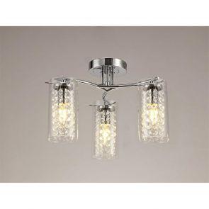 Molly Semi Ceiling Light, 3 x E14, Polished Chrome/Crystal/Glass IL4407HS