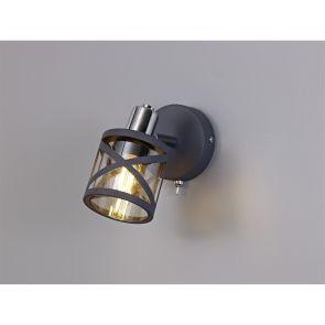 Naomi 1 Light Switched Spotlight E14, Matt Grey/Polished Chrome/Cognac IL1118HS