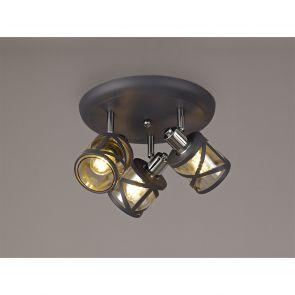 Naomi 3 Light Round Spotlight E14, Matt Grey/Polished Chrome/Cognac IL2118HS