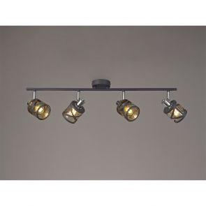 Naomi 4 Linear Bar Light Spotlight E14, Matt Grey/Polished Chrome/Cognac IL3118H