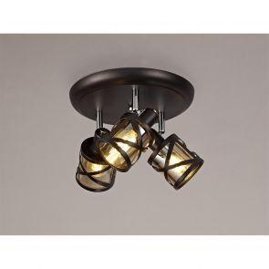 Naomi 4 Light Linear Bar Spotlight E14,  Bronze/Polished Chrome/Amber IL4418HS